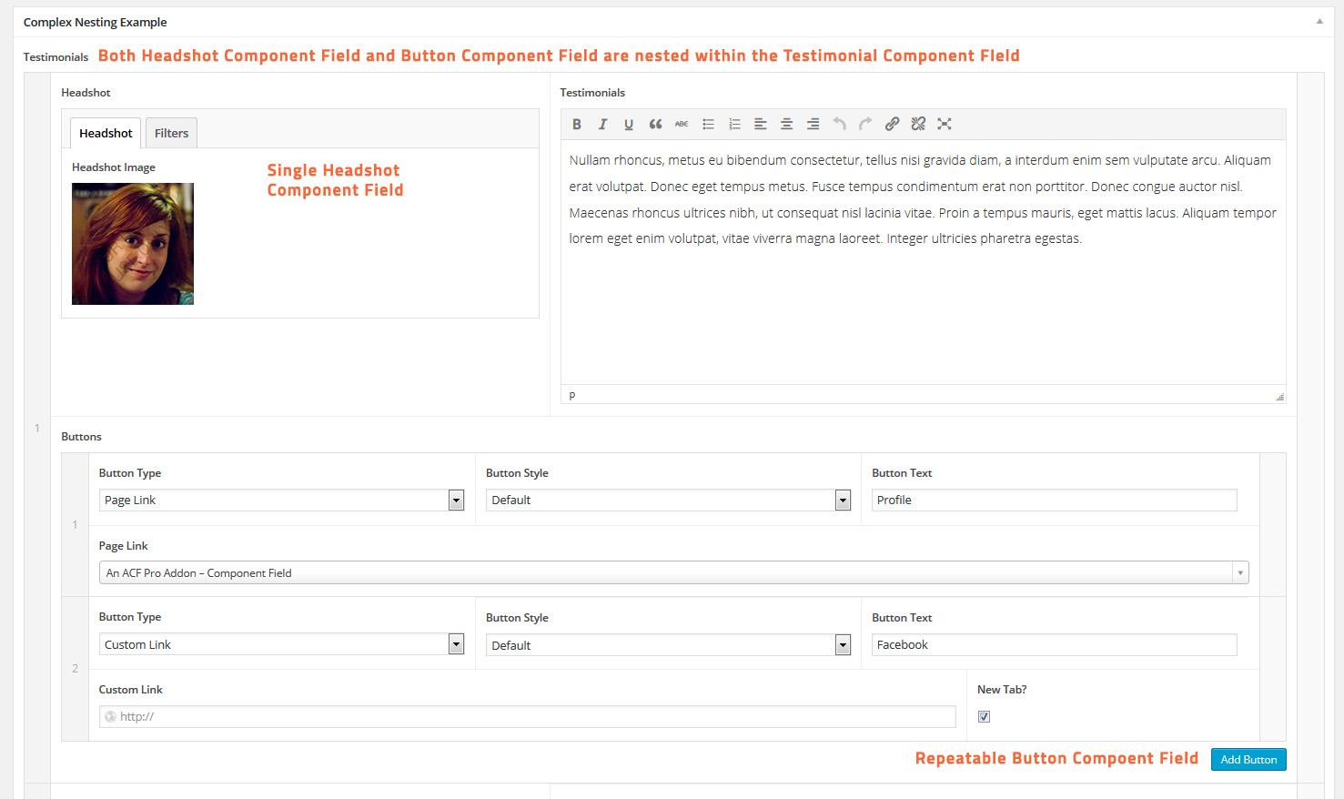 Advanced Custom Fields - Component Field Addon