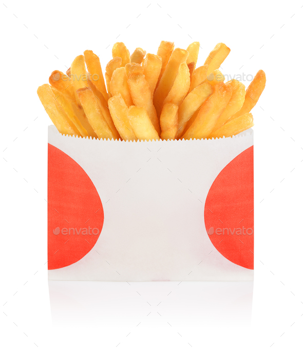 French fries box isolated - Stock Photo - Images