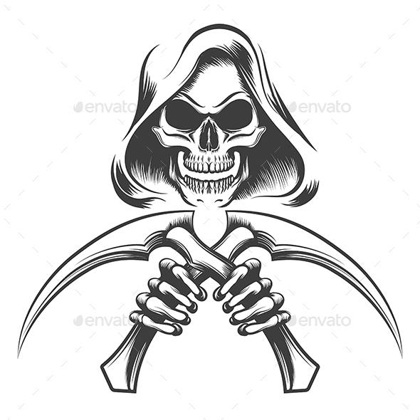 Death with Scythe Knives - Tattoos Vectors