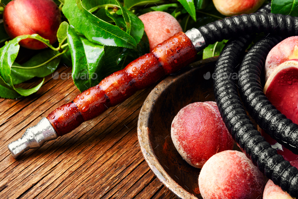 Oriental hookah shisha with peach - Stock Photo - Images