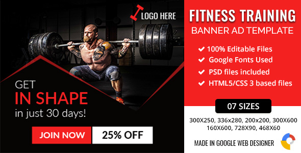 GWD | Fitness Training HTML5 Banners - 07 Sizes            Nulled