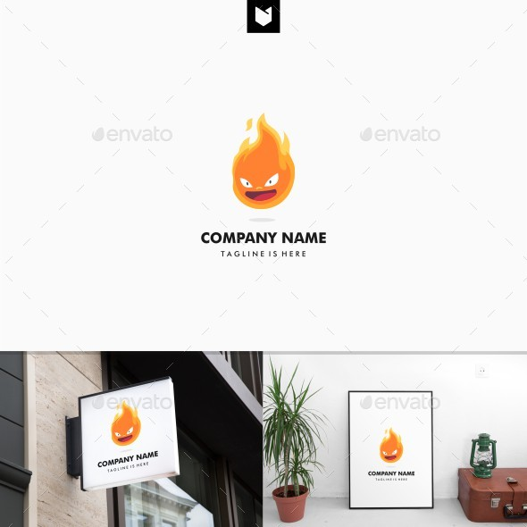 Angry Flame Fire Head Logo Mascot - Objects Logo Templates