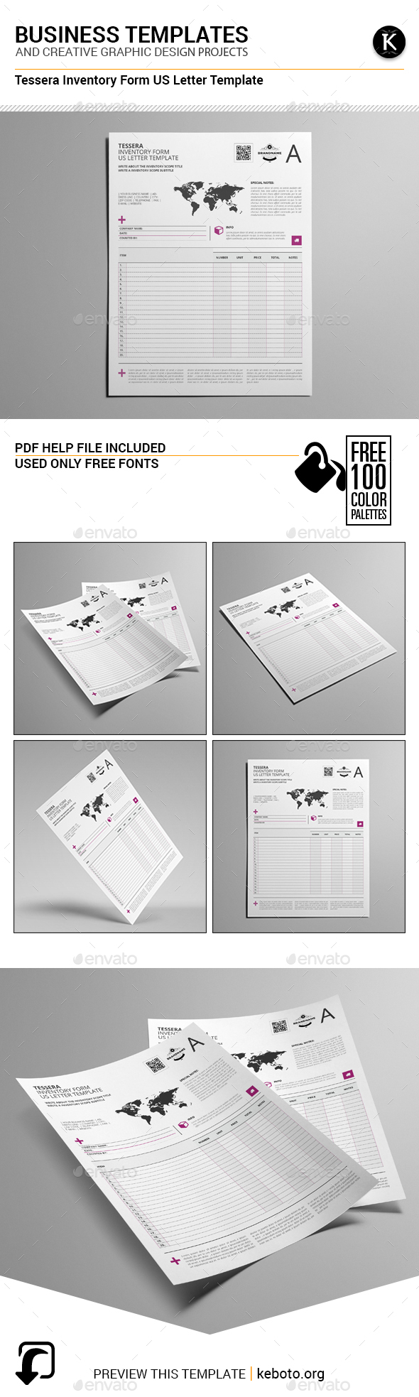 Tessera Inventory Form US Letter Template - Miscellaneous Print Templates