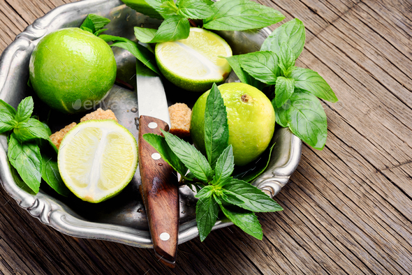 Fresh green mint and lime - Stock Photo - Images