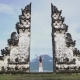 Woman Raise Hands Standing in Pura Lempuyang, Looking at Agung volcano. Indonesia - VideoHive Item for Sale