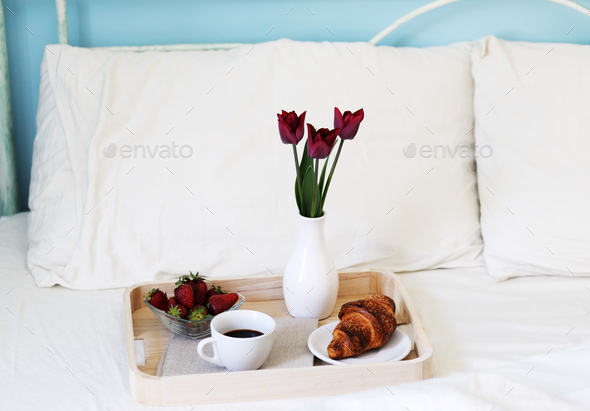 breakfast in bed - Stock Photo - Images