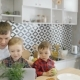 Father and Two Sons in Multiethnic Family Sitting at the Kitchen - VideoHive Item for Sale