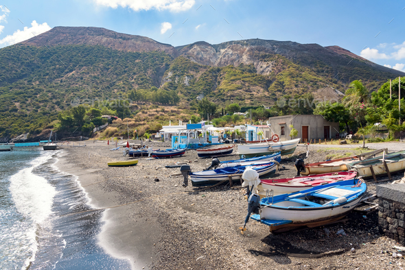 Boats on the beach on Vulcano Island - Stock Photo - Images