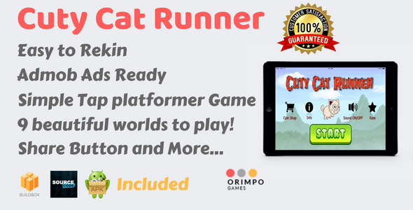Cuty Cat Runner - Buildbox Game Template & Android Eclipse Project - CodeCanyon Item for Sale