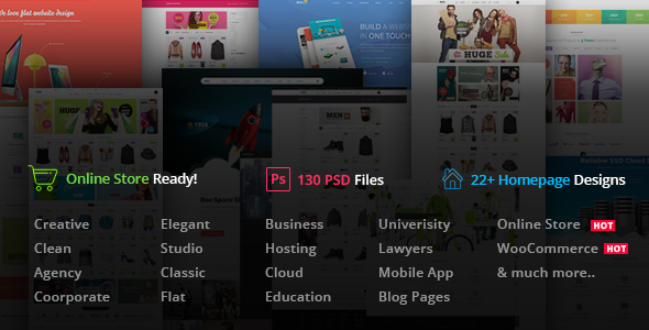 Boo | Creative - Cloud Hosting - University - eCommerce - Mobile App - Personal - Lawyer PSD - Corporate PSD Templates