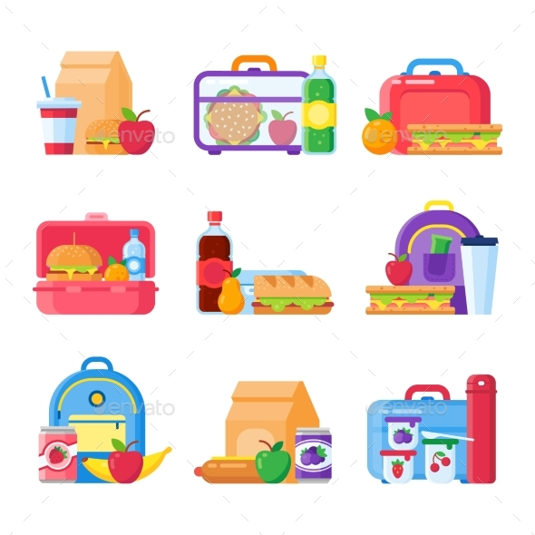 School Kid Lunch Box Healthy and Nutritional Food - Food Objects