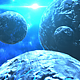 Flying Through Abstract Cluster of Planets with Star Shine in Deep Space - VideoHive Item for Sale