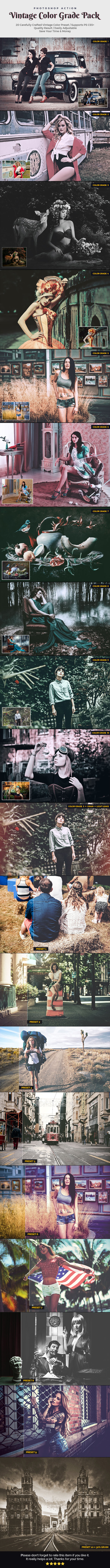 Vintage Color Grade Pack - Photo Effects Actions