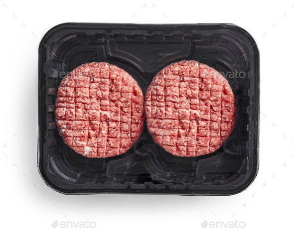 burger meat in plastic package - Stock Photo - Images