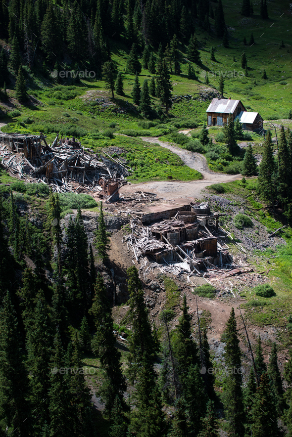 Mine Ruins Alpine Loop Colorado - Stock Photo - Images