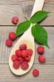 Raspberry in wooden spoon top view - PhotoDune Item for Sale