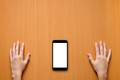 Hands and smartphone on desk top view - PhotoDune Item for Sale