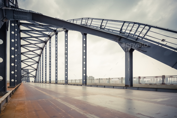 steel bridge and road in jiujiang , China - Stock Photo - Images