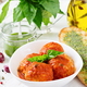 Meatballs in tomato sauce and toast with basil pesto. Dinner. Tasty food. - PhotoDune Item for Sale