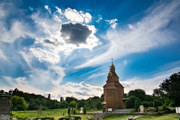 Old church on a blue sky background. Beautiful landscape - Stock Photo - Images
