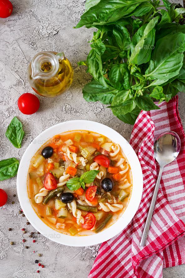 Minestrone, italian vegetable soup with pasta. Vegan food. Top view. Flat lay. - Stock Photo - Images