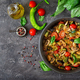 Hot spicy stew eggplant, sweet pepper, tomato, zucchini and mushrooms. Flat lay. Top view - PhotoDune Item for Sale
