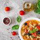Minestrone, italian vegetable soup with pasta. Vegan food. Top view. Flat lay. - PhotoDune Item for Sale