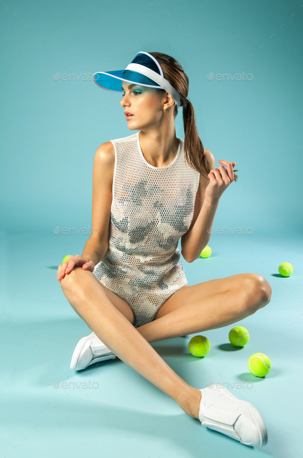 vintage female tennis player  - Stock Photo - Images