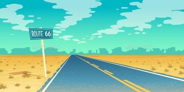 Vector Desert Landscape with Asphalt Route 66 - Landscapes Nature