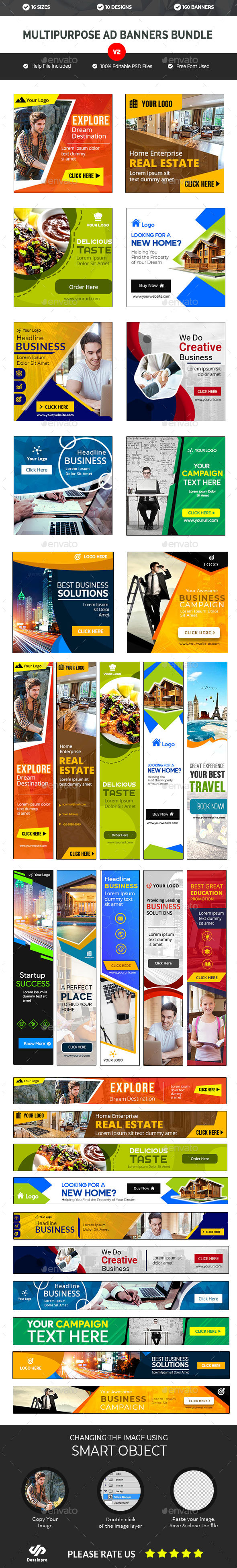 Multipurpose Banners Bundle V2 - 10 Sets - 160 Banners - AR - Banners & Ads Web Elements