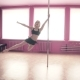 Sexy Woman Doing Poledance. Female Dancer in Pink Studio. Fitness and Sport - VideoHive Item for Sale