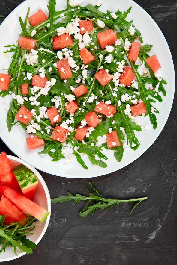 Fresh summer watermelon salad - Stock Photo - Images