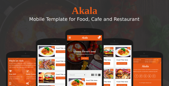 Akala - Mobile Template for Food, Cafe and Restaurant - Mobile Site Templates