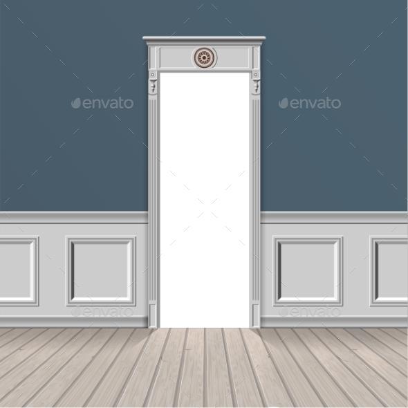 Empty Room Through the Open Door - Buildings Objects