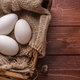 Three big fresh goose eggs in a box, copyspace - PhotoDune Item for Sale