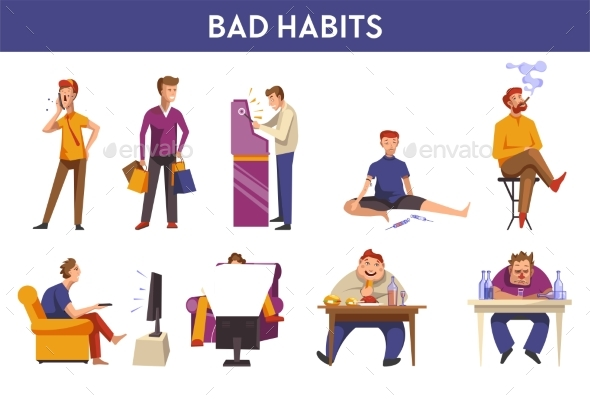 People Bad Habits and Behavior Vector Icons - Food Objects