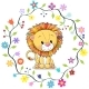 Lion in a Flowers Frame