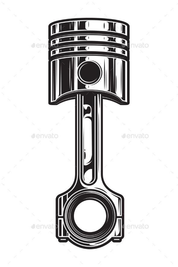 Vintage Car Engine Piston Template - Miscellaneous Vectors