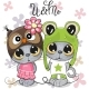 Kittens Boy and Girl on a Flowers Background - GraphicRiver Item for Sale