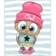 Cartoon Owl in a Hat and Scarf