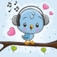 Bird with Headphones on a Branch - GraphicRiver Item for Sale