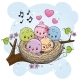 Cartoon Birds in a Nest on a Branch - GraphicRiver Item for Sale