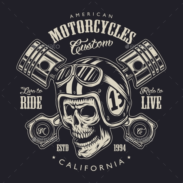 motorcycle logo  Vintage Monochrome Motorcycle Logo Concept by imogi | GraphicRiver