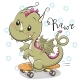 Dragon with Skateboard on a White Background - GraphicRiver Item for Sale