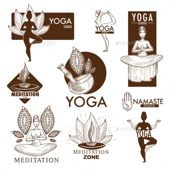 Yoga Meditation Studio Vector Icons - Miscellaneous Vectors