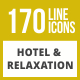 170 Hotel & Relaxation Line Inverted Icons