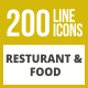 200 Restaurant & Food Line Inverted Icons