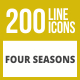 200 Four Seasons Line Inverted Icons - GraphicRiver Item for Sale