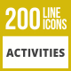 200 Activities Line Inverted Icons - GraphicRiver Item for Sale