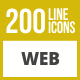200 Web Line Inverted Icons